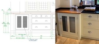 The original design drawing and a picture of the finished boiler cabinet.