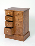 bespoke brown oak chest of drawers